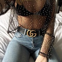 Jeweled Mesh Top
