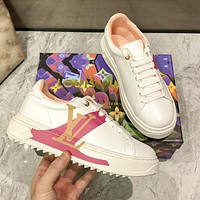 Louis Vuitton LV new 3D printing white shoes Fashion ladies casual sports shoes