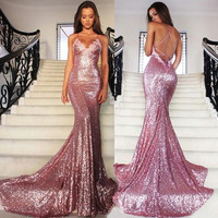 Elegant Open Back Sequins Mermaid Prom Dresses,Prom Dress