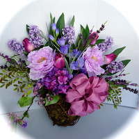 Large Purple Silk Floral Wreath Arrangement - Lavender Peonies, Purple Tulips, Hydrangea,and Hyacinths in Twig Basket for Spring or Summer