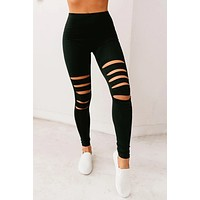 Women Black Hollow Out Fitness Activewear Leggings