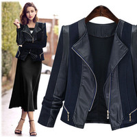 SIMPLE - Autumn Women Leather Extra Plus Size Outerwear Jacket a13002