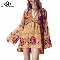 2016 spring summer ethnic floral boho style flare full sleeve printed beach v-neck yellow pink women dress real photo