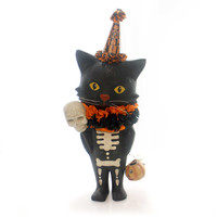 Halloween SOURPUSS Paper Mache Black Cat Skeleton Skull Tj5324