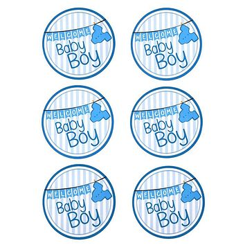 Baby Clothesline Seal Paper Stickers, Light Blue, 2-Inch, 12-Count
