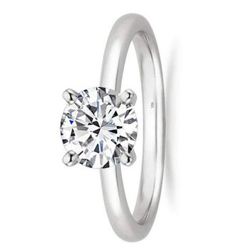 1/2 - 2 Carat GIA Certified 18K White Gold Solitaire Round Cut Diamond Engagement Ring (G-H Color, VS1-VS2 Clarity)