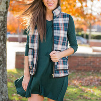 Best I Ever Plaid Vest, Dark Teal-Peach