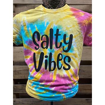 Southern Chics Apparel Salty Vibes Beach Tie Dye Canvas Bright T Shirt
