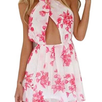 Multicolor Floral Front Cross Halter Backless Pleated A-Line Mini Dress