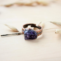 Ring with amethyst. Natural amethyst. Raw stone. Gemstone. Elektroforming. Copper ring. Ring with natural stone