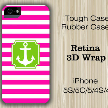 Pink Stripes Green Anchor iPhone 6/5S/5C/5/4S/4 Case