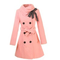 Womens Double-Breasted Brooch Winter Coat