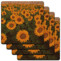 Field of Sunflowers Low Profile Cork Coaster Set