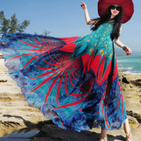 Sea & Coral-inspired Bohemian Style Maxi Dress