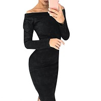 Autumn Dress Women Fashion Huge Suede Long Sleeve Solid Off Shouder Bodycon Party Vestidos De Fiesta Woman Dress 2019