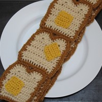 Buttered Toast, Bread and Butter Crocheted Scarf, Perfect for Halloween, Made to Order
