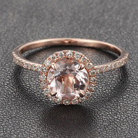 Round Morganite Engagement Ring Pave Diamond Wedding 14K Rose Gold 7mm