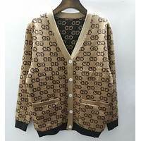 GUCCI Trending Women Loose Jacquard Double G Print Button Pocket Knit Cardigan Jacket Coat Khaki