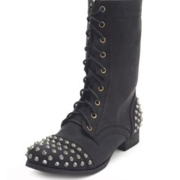 Spiked Lace-Up Combat Boot by Charlotte Russe - Black