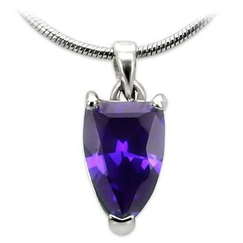 High-Polished Brass Chain Pendant with AAA Grade CZ  in Amethyst