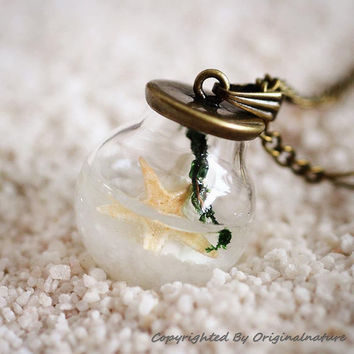 Nature Inspired Jewelry Real Ocean Series Necklace Pendant Gift (HM0181)