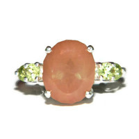 Five Stone Ring, Sunshimmer Feldspar With Peridot Accents, Middle Finger Ring, Right Hand Ring