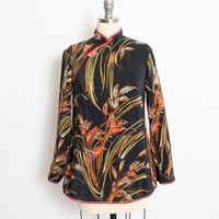 Vintage 1950s Cheongsam Top - Black Silk Floral Print Satin Chinese Blouse 50s - Small S