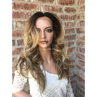 Blonde Balayage Multi Parting Human Hair Blend Lace Front Wig - Carrie