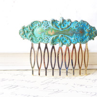 Verdigris Floral Hair Comb - Woodland Collection - Whimsical - Nature - Bridal - Patina