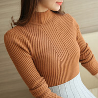 Women Fashion Sweater 2016 New Autumn Winter Gray Red Black Tops Women Knitted Pullovers Long Sleeve Shirt Female Brand Clothing