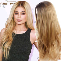 """Synthetic Wigs 28"""" Long Ombre Blonde Wig Drag Queen Hair Cheap Female Wigs for Black Women Ombre Long Wavy Curly Hair"""
