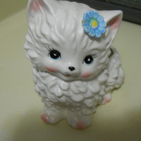 Vintage KITTEN Blue Pink and white NEWBORNS PLANTER for Boy or Girl or baby gift for new Mom