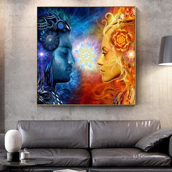 Tantra Shiva And Shakti Wall Art Canvas Prints Hindu Gods Pop Art Posters On The Wall Paintings  Pictures For living Room