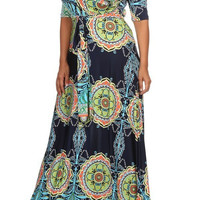 Plus Size Bria Boho Mandala Print Maxi Dress