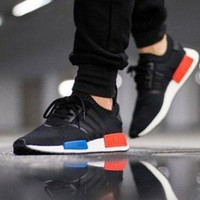 PEAPNW6 Sale Adidas NMD R1 Primeknit OG Core Black/Core Black/Lush Red S79168 Boost Sport Running Shoes Classic Casual Shoes Sneakers
