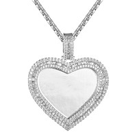 Heart Shape Silver Baguette Bling Photo Picture Gift Pendant