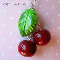 Cute handmade polymer clay realistic cherry with leaf red and green necklace