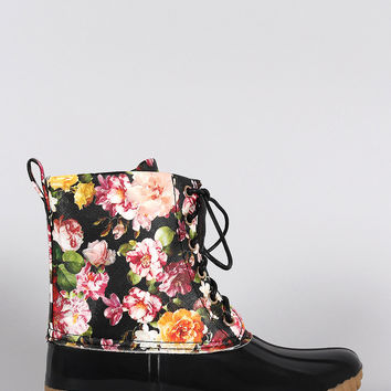 Floral Glossy Ankle Duck Boots