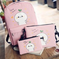 QZH 2017 Printing Backpacks Set Women Canvas Cartoon Prints Candy Color Cute Children School Bags For Teenage Girls Gifts 3pcs