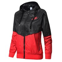 NIKE Trending Women Men Stylish Hooded Zipper Cardigan Sweatshirt Jacket Coat Windbreaker Sportswear Black