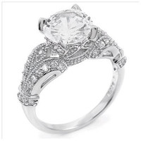 Sterling Silver 2.25 carat Round Cut CZ Antique Inspired Fancy Engagement Ring size 5-9