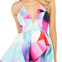 Asymmetric Romper In Multi Color Print