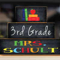Teacher Sign Back to School Custom Personalized - Apple and Book Trio Wood Blocks Stack - Classroom Decor/Gift - Wooden Blocks