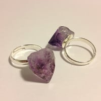 Amethyst Stone Ring by TheLunarEffect on Etsy