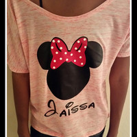 Loose Fittting Scoop Neck Disney Inspired Minnie TShirt Perfect for Disneyland or Disney Themed Birthday Party