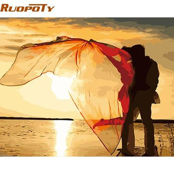 RUOPOTY Frame Kiss DIY Painting By Numbers Romantic Modern Wall Art Acrylic Paint On Canvas For Wedding Decoration 40x50cm Arts