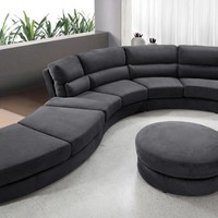 Divani Casa 0599 - Contemporary Curvy Fabric Sofa
