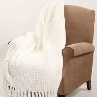 BOON Throw & Blanket Cable Knitted Polyester Throw Blanket