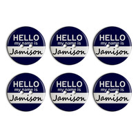 Jamison Hello My Name Is Plastic Resin Button Set of 6