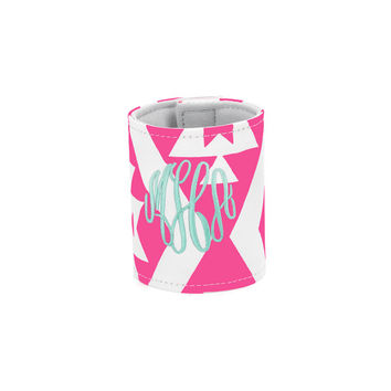 Monogrammed Coozie Pink Aztec Ikat, Can Cozy, Koozie, Personalized Coozie, Bridesmaid Coozie, Beer Koozies, Can Wrap